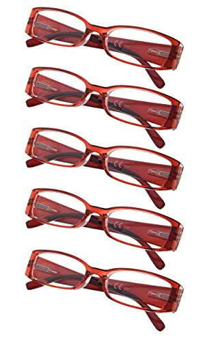 5-Pack Ladies Reading Glasses (Red,+4.00)