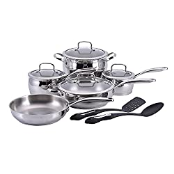 Hamilton Beach 12 Piece Belly Shape Cookware Set, 1810 Stainless Steel, Cast Stainless Steel Handle