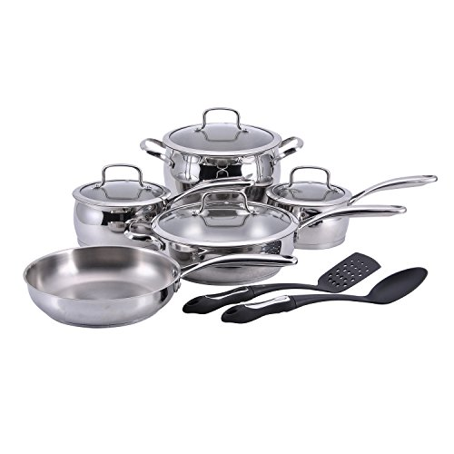 Hamilton Beach 12 Piece Belly Shape Cookware set, 18/10 Stainless Steel, Cast Stainless Steel Handle
