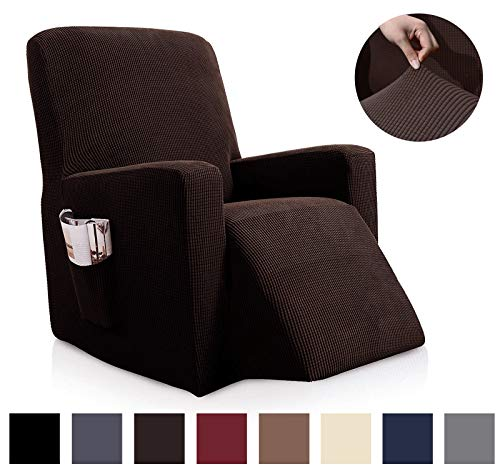 Binztec 1-Pieces Sofa Cover Knitted Jacquard Spandex Sofa Slipcover Stay in Place Super Rich Furniture Cover/Protector, Skid Resistance (Chocolate, Recliner) (Colors That Go With Chocolate Brown Sofa)