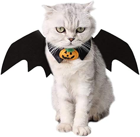 Vikedi Cat Halloween Costume with Cat Collar Bow Tie, Cat Bat Wings for Halloween Party Cosplay Decoration, Pet Costumes Apparel for Cat Small Dogs 19