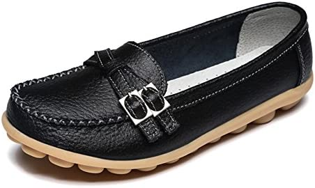 LINGTOM Women's Casual Leather Loafers Driving Moccasins Flats Shoes