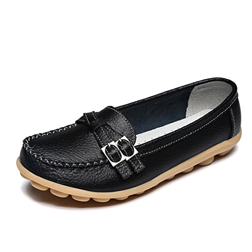 LINGTOM Women's Casual Leather Loafers Driving Moccasins Flats Shoes, Black 8 (39)