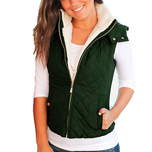 (Idgreatim Women's Basic Quilted Padded Vest Sleeveless Removable Hood Jacket with Pockets)