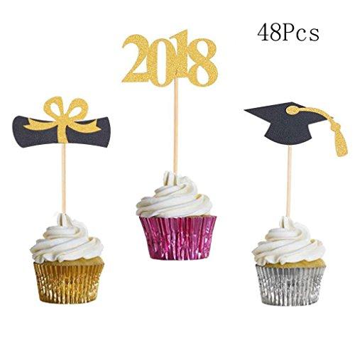 48PCS/set Cake Topper Golden 2018 Graduation Trencher Cap Bachelor Cap Certificate Graduation Party Home Decor -