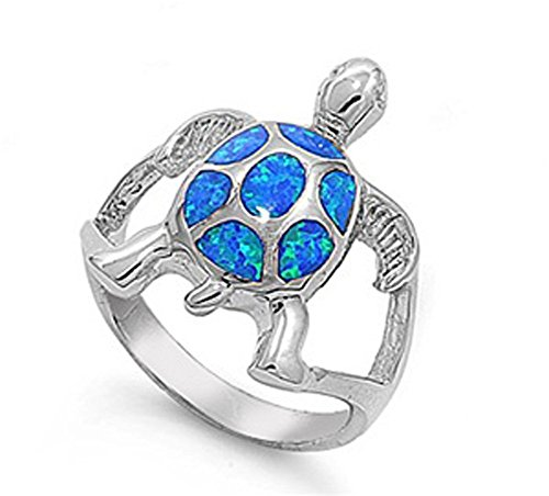 Sterling Silver Women s Blue Fire Turtle Ring Beautiful Band 21mm Sizes 5-10