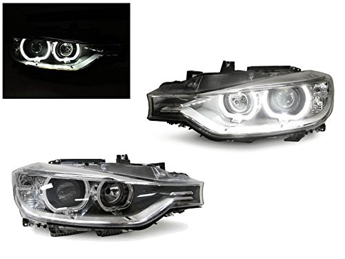 Series 3 4d Led (Black LED Angel Eyes Halo Rings Projector Headlight by DEPO Fit For 2012-2015 BMW F30 / F31 3 Series 4D Sedan / 5D Wagon Halogen Models)