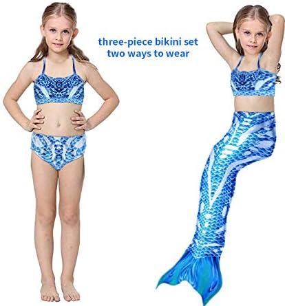 Mermaid Tail Swimmable Kids Mermaid Tail for Swimming Mermaid Princess Swimsuit Girls Mermaid Swimming Costume Included 3PCS Mermaid Tail Bathing Suit 3-8 Years