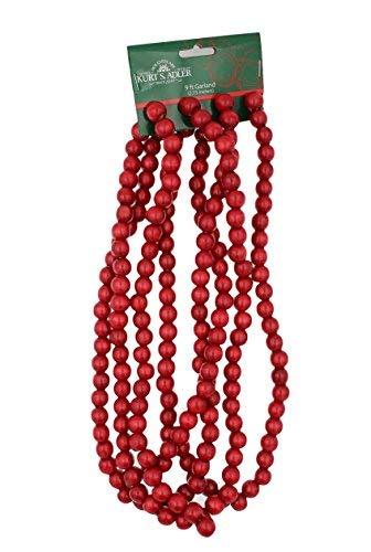Kurt Adler 9 X 14mm Wooden Red Bead Garland