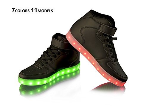 Black High Top Led Light Up Shoes PU Leather Cool Party Fashion Sneaker-LS01-BK41