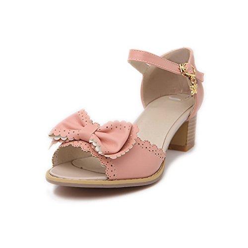 VogueZone009 Mujeres Puntera Abierta Hebilla Sólido Plataforma Sandalias de vestir con Lazos Rosa