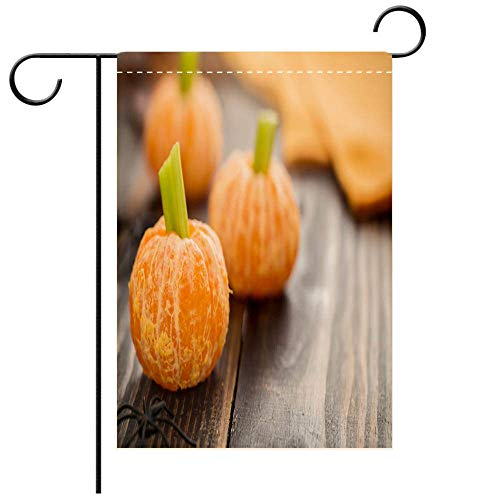 BEICICI Artistically Designed Yard Flags, Double Sided Healthy Halloween Food Tangerine Pumpkins Snack Kids Decorative Deck, Patio, Porch, Balcony Backyard, Garden or Lawn