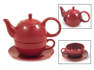 Tea for One Burgundy Gloss Finish - EnglishTeaStore Brand