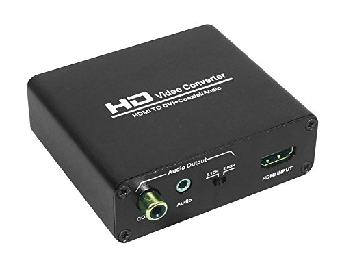 GREATLINK HDMI to DVI Converter with Audio Out - HDMI to DVI Video Audio Adapter Sound Splitter to 3.5mm AUX Auxiliary / 2 RCA Stereo & Coaxial Output Jack Connector Plug, 1080P 720P, 5.1 & 2 Channel