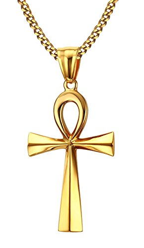 HUANIAN Men's Stainless Steel Coptic Anka Cross Religious Pendant Necklace, 24