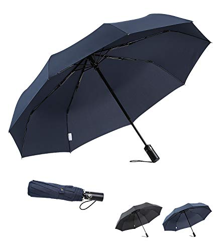 boy Travel Umbrella Windproof Compact Umbrella, Folding Umbrella Automatic Open Close, Upgraded 9 Ribs Reinforced Windproof Frame, Blue ()