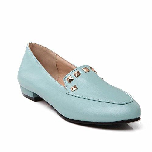 Latasa (talla 4.5-13) Elegantes Remaches Con Tachuelas Neutrales Para Mujer Zapatos Con Holgazanes De Punta Redonda, Zapatos Planos De Holgazán Azul