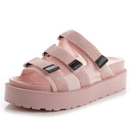 Rose Été Mode Décontractées Chaussons Femelle Maille Plates Tige Bout Sandales en Chaussures Ouvert Velcro Chaussures OWBq0T608