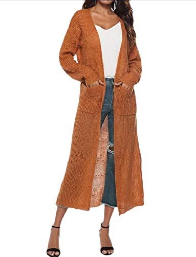 Trim Split Yellow Pocket MogogoWomen Knitted Front Autumn Overcoat Long Open FqTHwMCfU