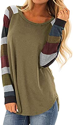 Chase Secret Womens Color Block Long Sleeve Tunic Sweatshirts Tops Casual Blouses S-XXL