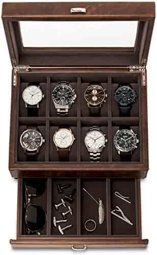 TAWBURY Leather Watch Box for Men | 12 Slot Watch Case with Valet | Watch Storage with Large Watch Holders and Jewelry Organizer | Men's Watch Display Stand for Dresser | Luxury Gift Box Included