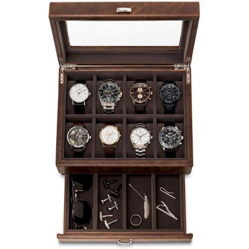 TAWBURY Leather Watch Box for Men | 12 Slot Watch Case with Valet | Watch Storage with Large Watch Holders and Jewelry Organizer | Men's Watch Display Stand for Dresser | Luxury Gift Box Included from TAWBURY