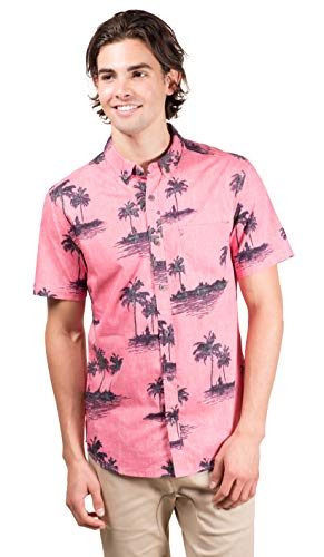 Brooklyn Athletics Men's Hawaiian Aloha Shirt Vintage Casual Button Down Tee, Light Pink Palms, X-Large