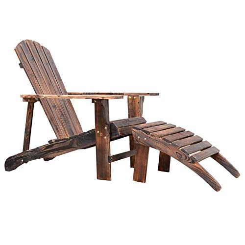 Godyluck Wooden Adirondack Chair w/Ottoman Reclined Fan Back | Rustic Brown
