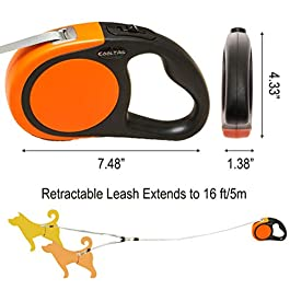 KOOLTAIL Dual Retractable Dog Leash – Heavy Duty Double Headed 16 ft Extendable Dog Leash for Small Medium Dogs Walking Training, Walk 2 Dogs up to 110 lbs