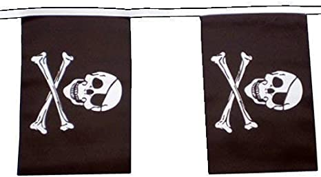 -  30 Flags SKULL /& CROSSBONES 30ft - Polyester Bunting PIRATE 9m