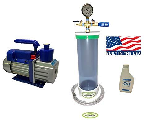 "Clear Wood Stabilizing Vacuum Chamber + High Performance Vacuum Pump (16"" Length x 4"" Diameter + 3 CFM Pump)"