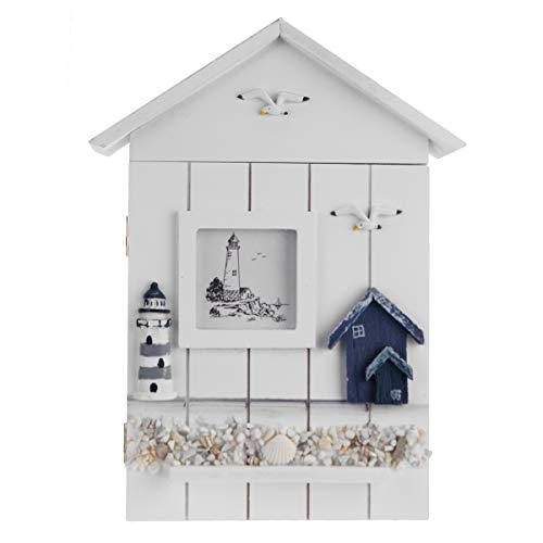 CocinaCo Wooden Storage Box Rack Cabinet Keys Security Case Shabby Chic Lighthouse Wall Mounted Holder