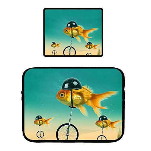 Beach Surfers Goldfish with Helmet Funny Bicycle Racing Laptop & MacBook Zipper Sleeve Bag & Mouse Pad Computer Sleeve Cover for 13 Inch