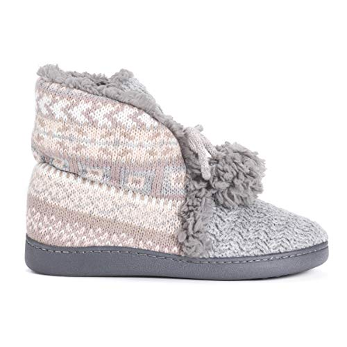 Muk Luks Women's Lulu Bootie Slippers, Blush, Small M Us