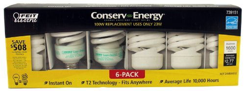 Feit Electric Conserv-energy 100w Equivalent CFL 23-watt Light Bulbs, 6-pack - 23w Cfl