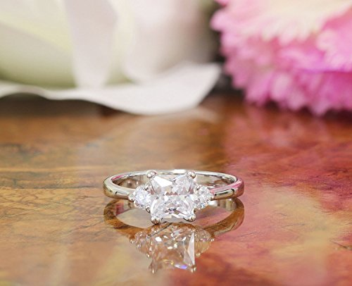 1.90ct Princess an Round Prong Engagement Ring Three Stone Style Man Made Simulated Diamond Ring Wedding Ring Bridal Sterling Silver