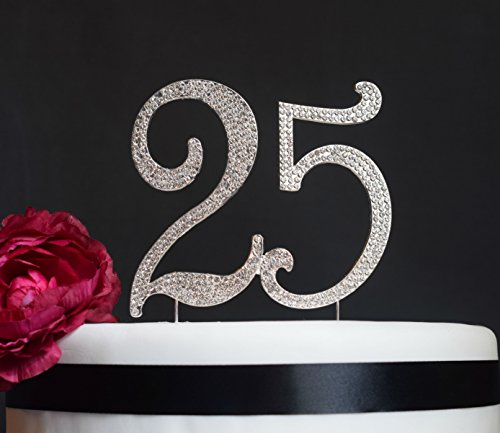 25 Cake Topper - Premium Crystal Rhinestones - Monogram Number Twenty Five - 25th Birthday or Anniversary Party Decoration - Crystals Securely Attached - Perfect Keepsake (25 Silver) - Rhinestone Cake Topper Number 25