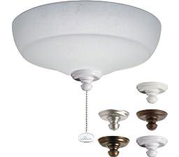 Kichler Lighting 338151MUL Universal Fluorescent Large Bowl 3LT Ceiling Fan Light Kit, White Linen Glass Shade
