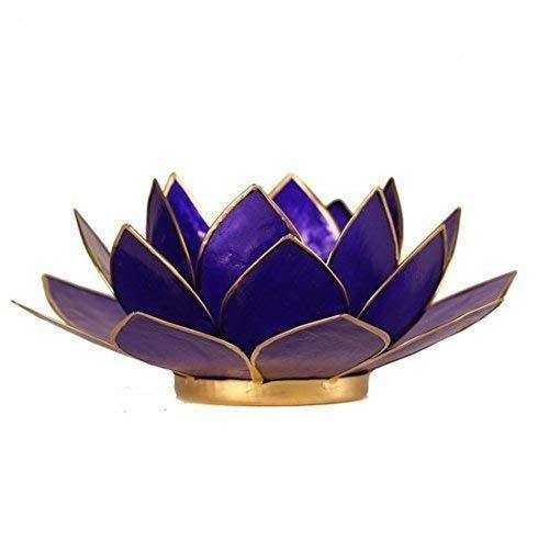 2x 6 Chakra A/ñil Azul Oscuro Flor de Loto Portavelas Hecho de Capiz Concha con Ajuste Del Oro