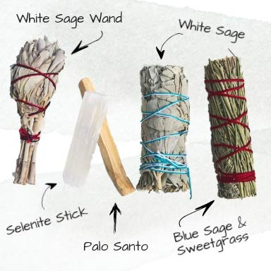 Sage Smudge Stick Kit - White Sage, Palo Santo, Mini Sage, Sage and Sweetgrass Smudging Sticks PLUS a Selenite Crystal & How to Guide for Cleansing your Home - Hand tied in California (Selenite) by Maha Living (Image #5)