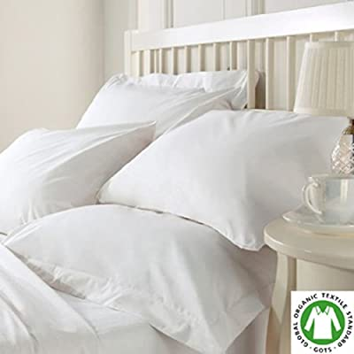 Organic Cotton Bed Sheet Set. Soft and Luxurious: White Color, Queen Size