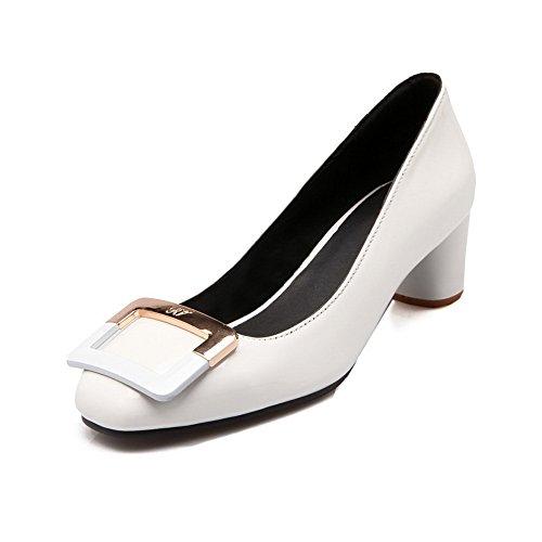 BalaMasa Girls slip-on low-heels solido in vernice pumps-shoes, Bianco (White), 35