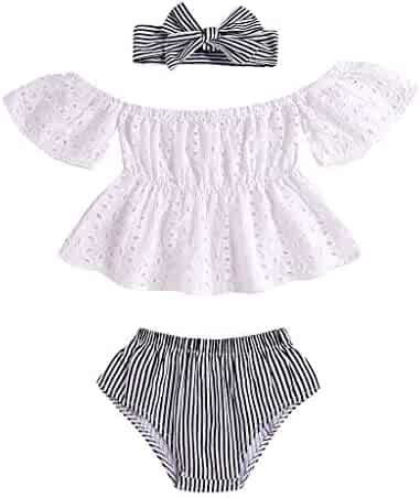 a9ebbc05bb76e Toddler Kids Infant Baby Girls' Clothes Set Summer Hollow Out Off-Shoulder  Tops and