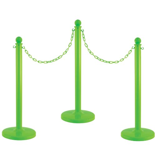 Image of Mr. Chain Plastic Stanchion Kit with 50 Feet of 2-Inch Link Chain and C-Hooks, Yellow, Pack of 6 (71102-6) Home Improvements
