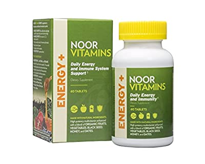 NoorVitamins Energy Supplements Multivitamin with Organic Fruits and Vegetables, Halal Vitamins (60 Count)