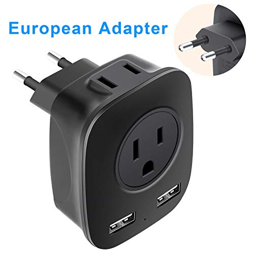 European Plug Adapter, NEWVANGA International Universal Travel Power Adapter with 2 USB Charing Ports, 2 x 15A Outlet…