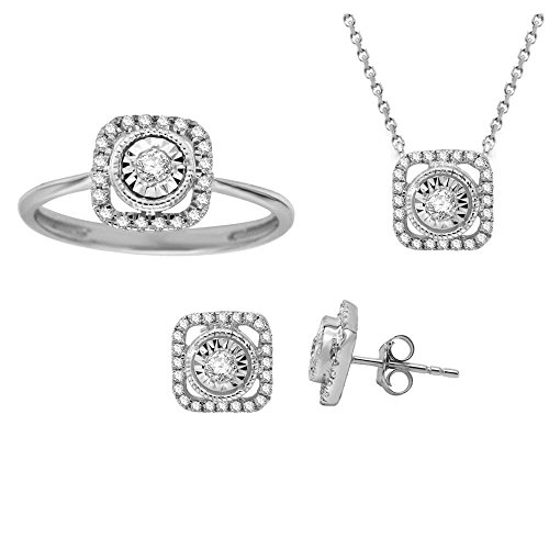 (1/2 ct Round Real Diamond Ring Earrings Pendant jewellery set Sterling Silver For Women (Jewellery Set))