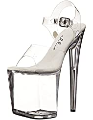 8 Inch Clear High Platform Stripper Shoes Womens Exotic High Heel Sandals