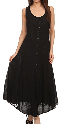 Sakkas 15230 - Beverlee Embroidered Button Down Sleeveless Caftan Dress - Black - S/M