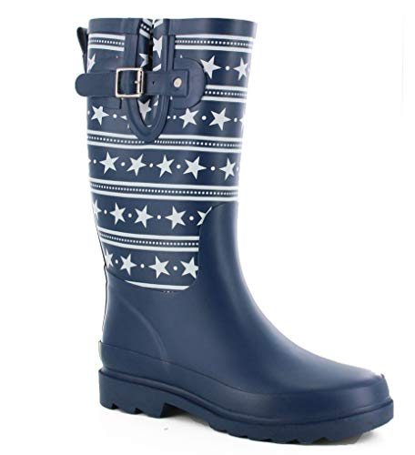 Western Chief Women Women's Waterproof Printed Tall Rain Boot, Stars and Stripes, 8 M US